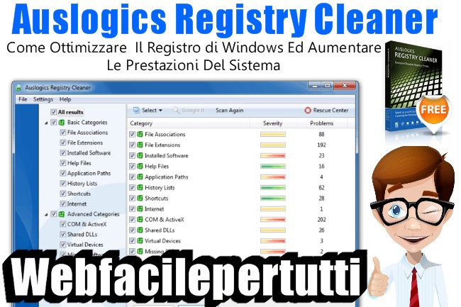 Come Ottimizzare Il Registro di Windows Ed Aumentare Le Prestazioni Del Sistema Con Auslogics Registry Cleaner