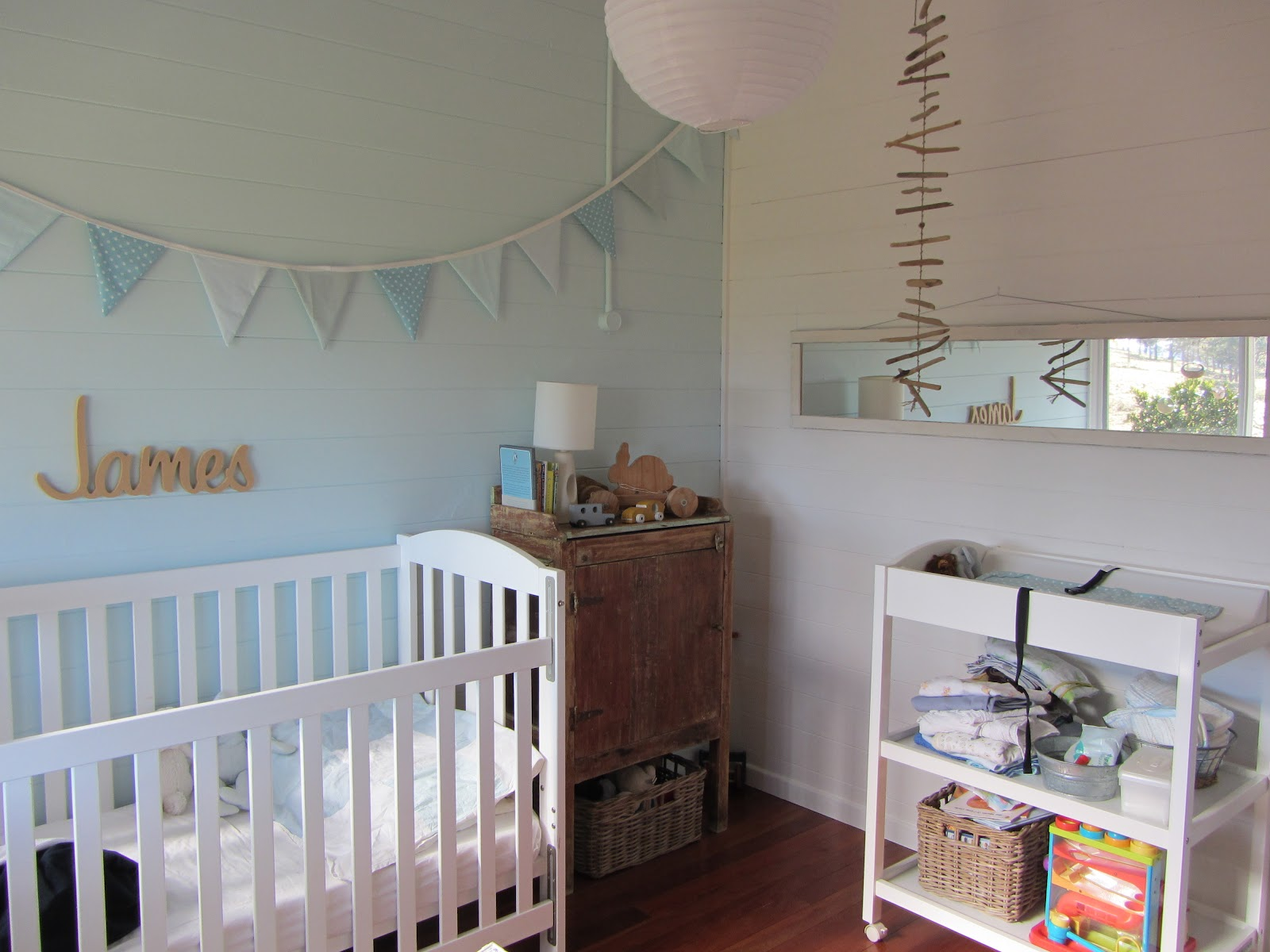 thom haus handmade Soft Colours for a Baby Boys Bedroom