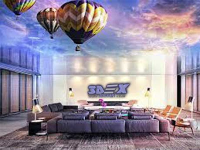 3d ceiling mural, 3d false ceiling design ideas for living room