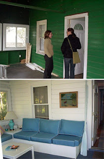 cottage porch renovation - before and after