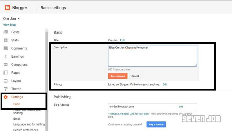 Setting Blogspot