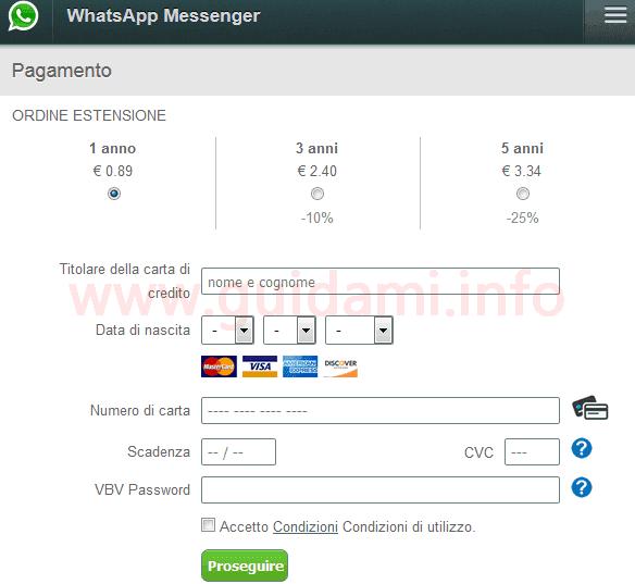 Modulo truffa rinnovo WhatsApp a pagamento