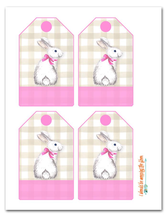 Pink Easter Basket Tags