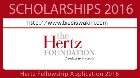 Hertz Fellowship Application 2016