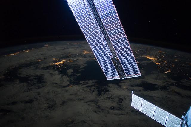 Sun's reflection on Solar Arrays of the International Space Station