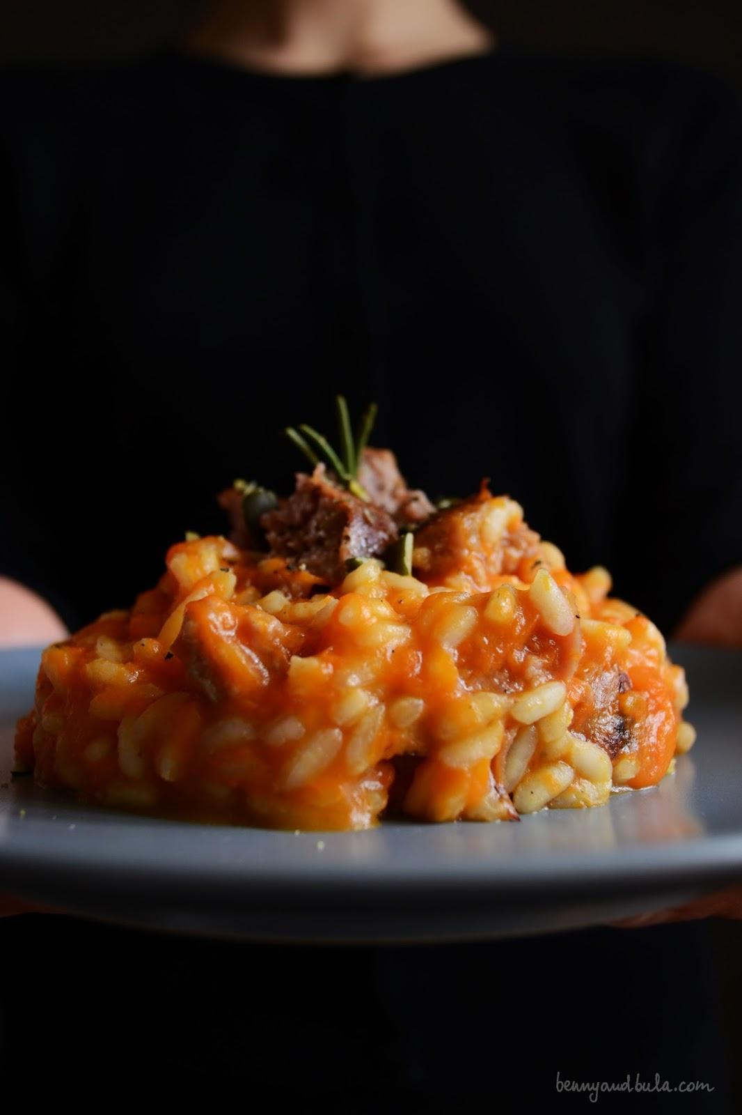 ricetta risotto zucca e salsiccia/ pumkin and sausage risotto recipe
