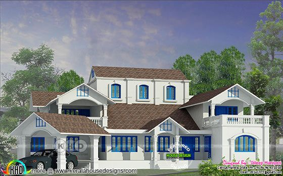 Victorian model house plan in Kerala