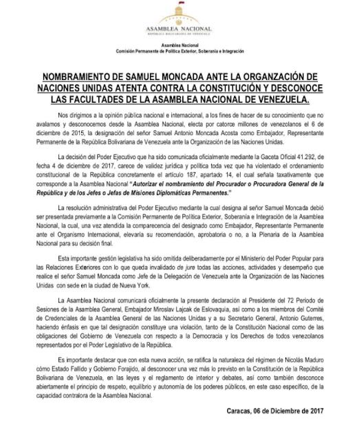 """Esta es la razón por la que """"sería ilegal"""" designación de Samuel Moncada ante la ONU"""