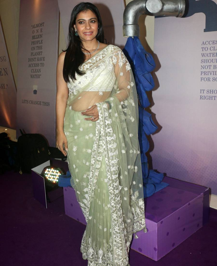 Kajol Looks stunning in Transparent Green Saree Inaugurates The Imc Ladies Wing Exhibition At NSCI Worli