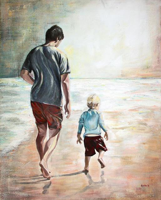 beach portrait painting