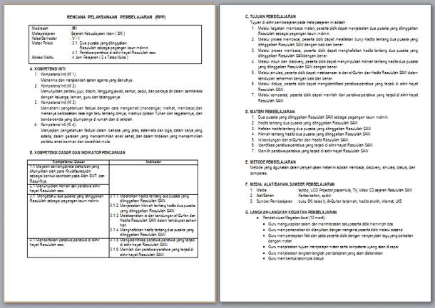 RPP Silabus Promes PAI MI Kelas 5 Revisi 2017 Kurikulum 2013