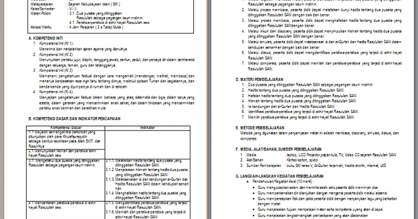 Rpp Silabus Promes Pai Mi Kelas 5 Revisi 2019 2020 Kurikulum 2013 Berkas Edukasi