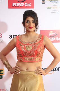 Harshika Ponnacha in orange blouuse brown skirt at Mirchi Music Awards South 2017 ~  Exclusive Celebrities Galleries 081.JPG