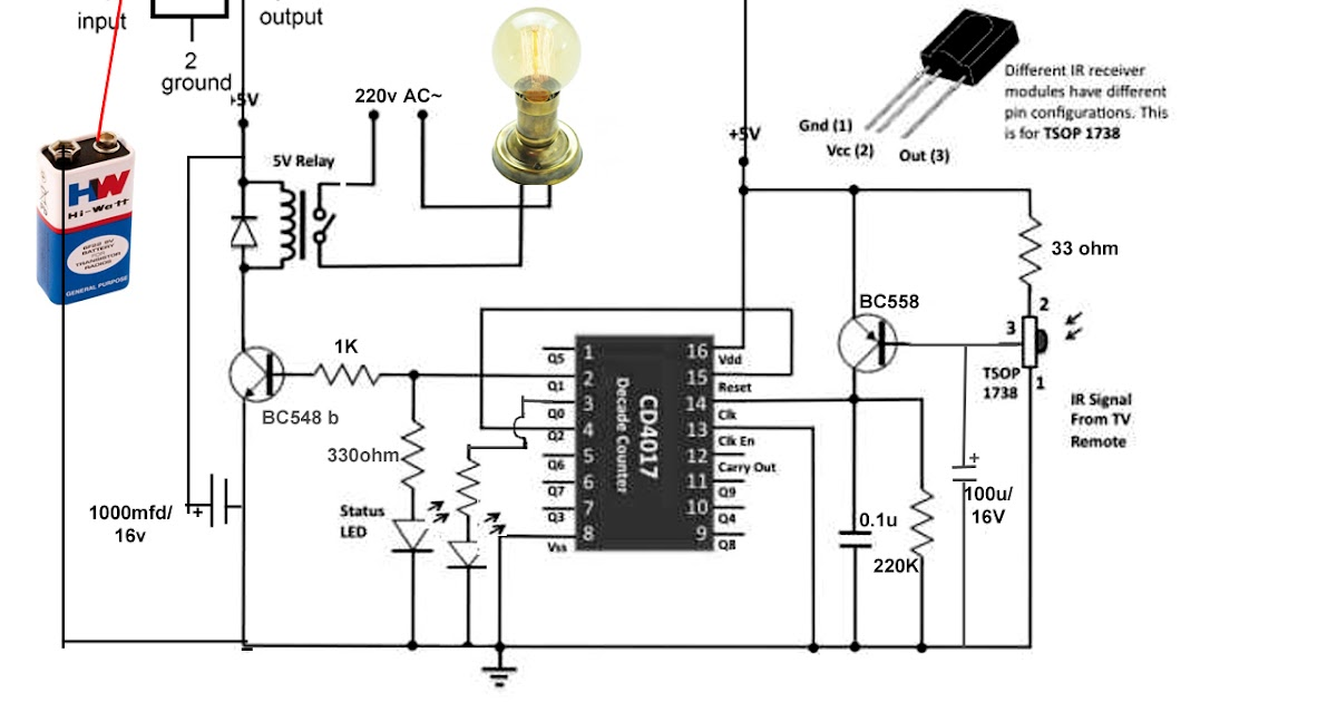 How To Control Light Or Fan Using Any Ir Remote Ic 4017
