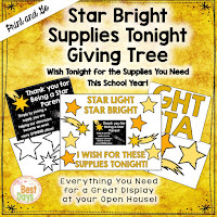 This Star Bright Themed Giving Tree is perfect to get your supplies for Back-to-School Nite or Open House!