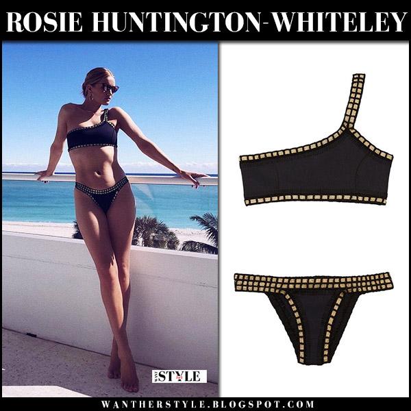 Rosie Huntington-Whiteley in black one shoulder bikini kiini model beach style january 8