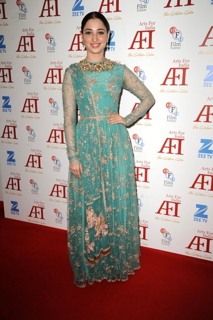 Tamannaah At arts for India Golden Aala Arrivals In Green Dress