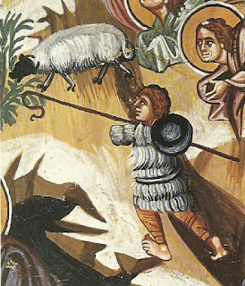 Βοσκός σκαρφαλομένος στους βράχους ετοιμάζεται να «συλλάβει» ένα ατίθασο πρόβατο με το «ωκυπόδιον» (κυπριακή ποιμενική ράβδο).