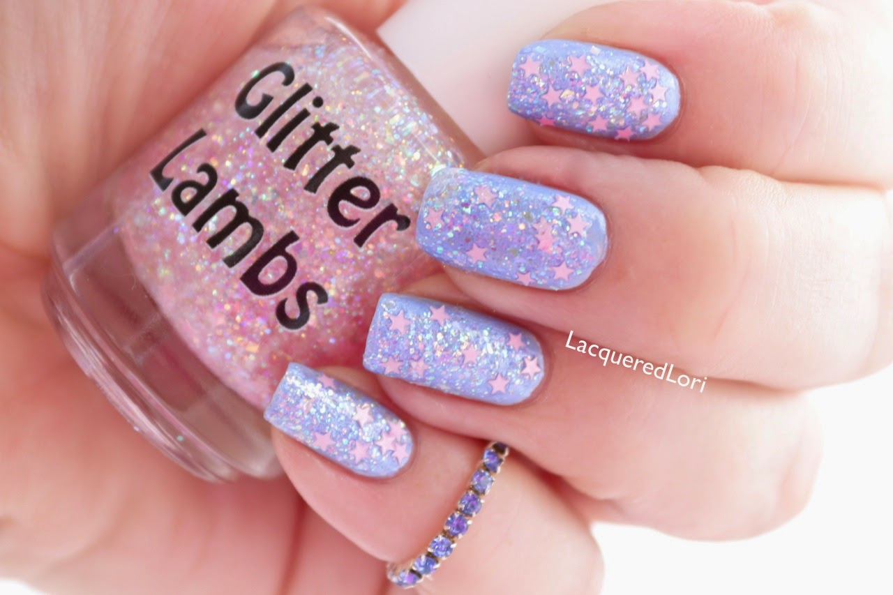 It's Snowing Cotton Candy Glitter Lambs Nail Polish Swatched by LacqueredLori