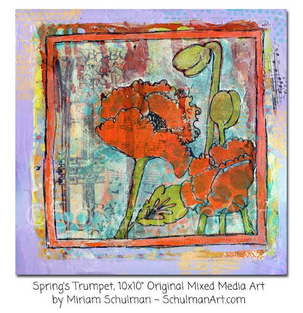 flower art | floral art | orange poppies | art by Miriam Schulman