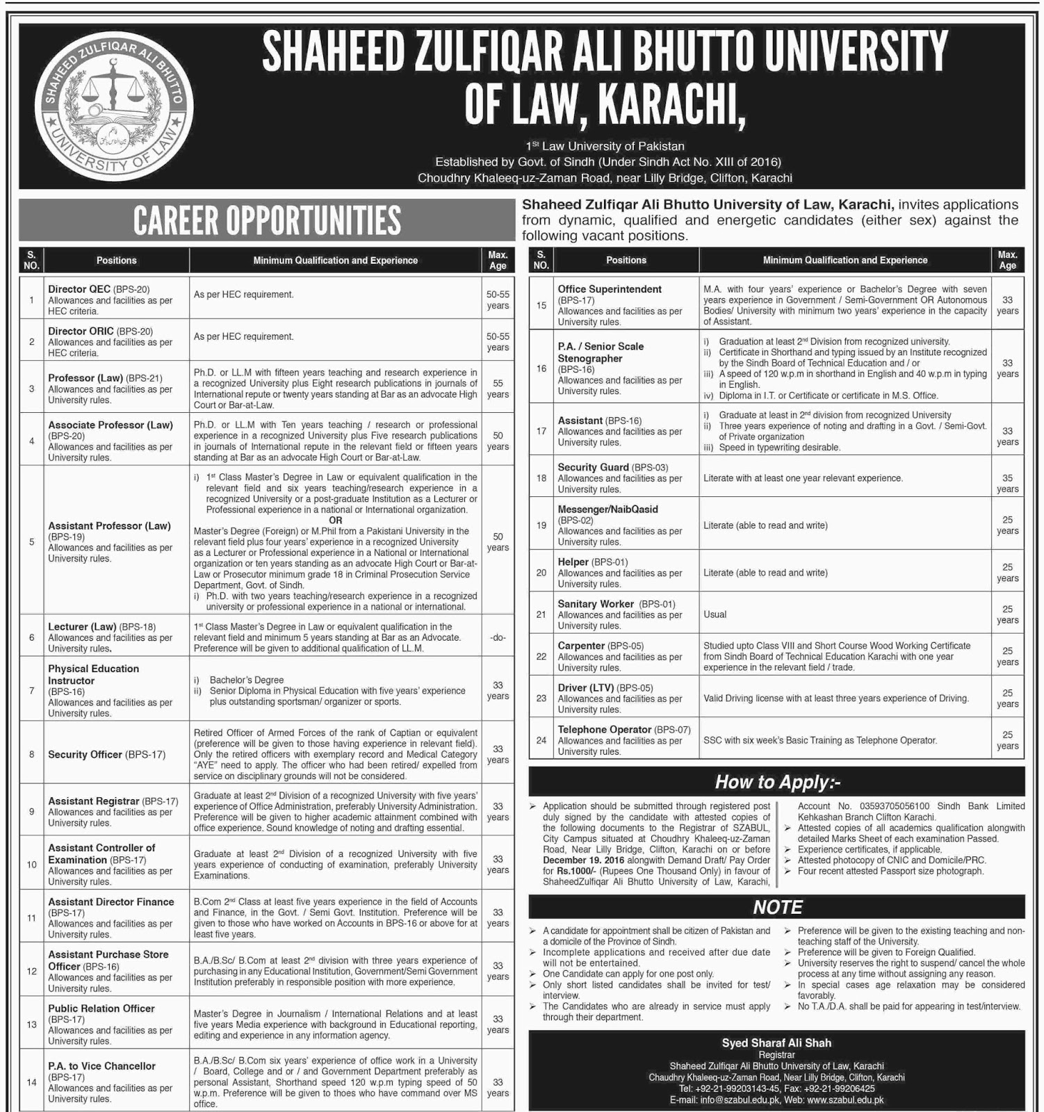 Shaheed Zulfiqar Ali Bhutto University of Law Karachi Jobs