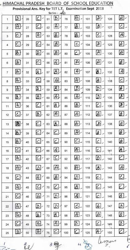 image : HPBOSE Answer key of HP TET Language Teacher 2018 Series A @ TeachMatters