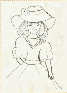 risco para pintar boneca com chapeu