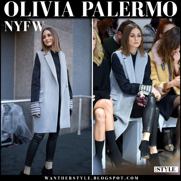 Olivia Palermo in light blue sleeveless coat noon by noor, black leather pants j brand edita and ankle boots fashion week outfits 2018