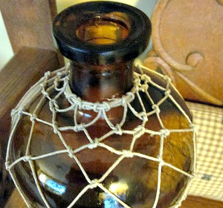 bottle with string macrame