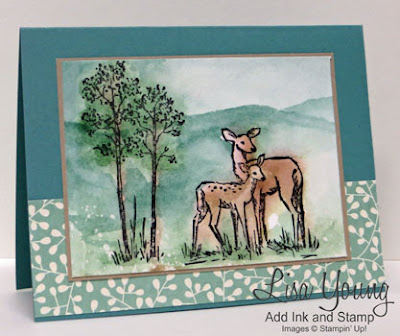 Stampin' Up! In the Meadow stamp set. Watercolored Doe and Fawn. Handmade watercolor card by Lisa Young