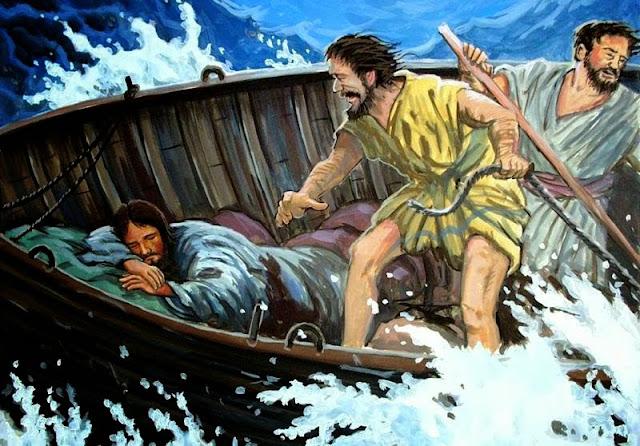 Resultado de imagem para jesus durmiendo en el barco
