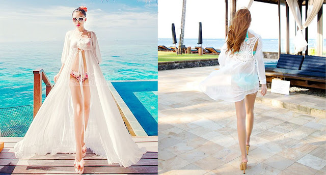 Sheer, flowy, floor length cover-ups are great for the beach and add a flirty look to a summer outfit.