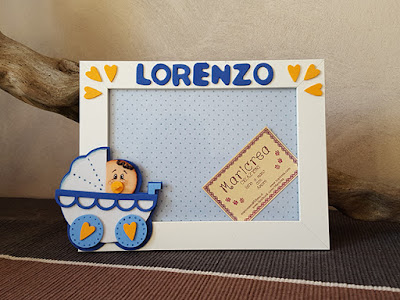 portafoto carrozzina foamy bebè maschietto