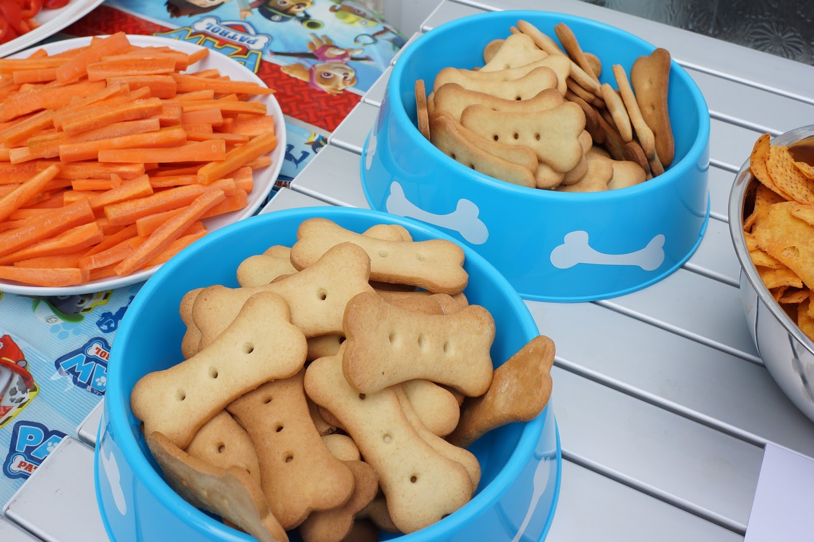 paw patrol honey biscuits in a dog bowl