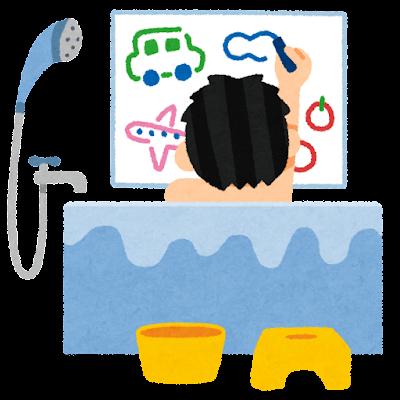 お風呂で絵を描く子供のイラスト