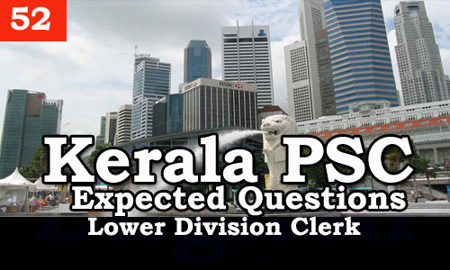 Kerala PSC - Expected/Model Questions for LD Clerk - 52