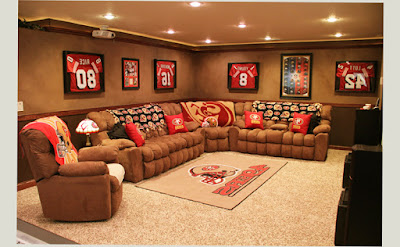 Chads Man Cave Ideas Basement Sport Football Themes With Long Type for Chair 2016