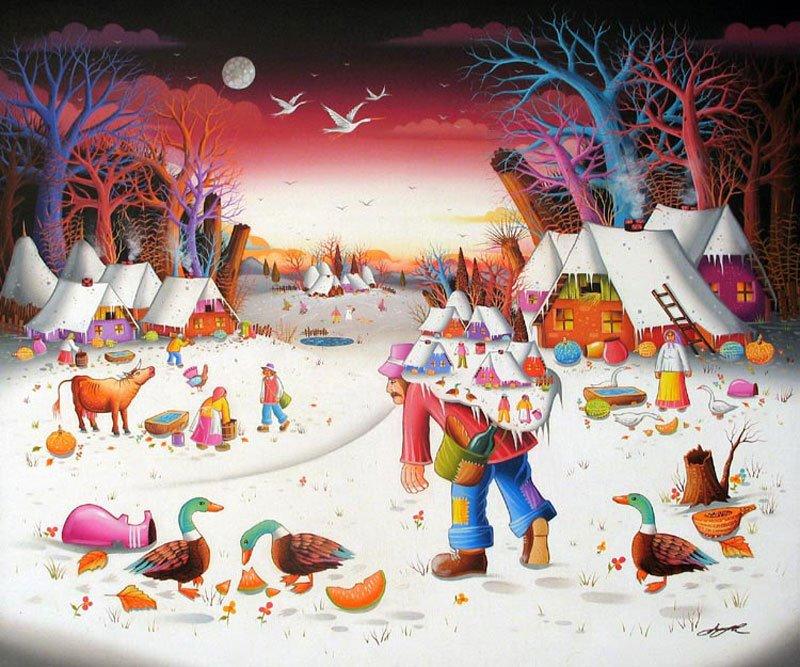 Mile davidovic serbian naive art info for Sfondi naif