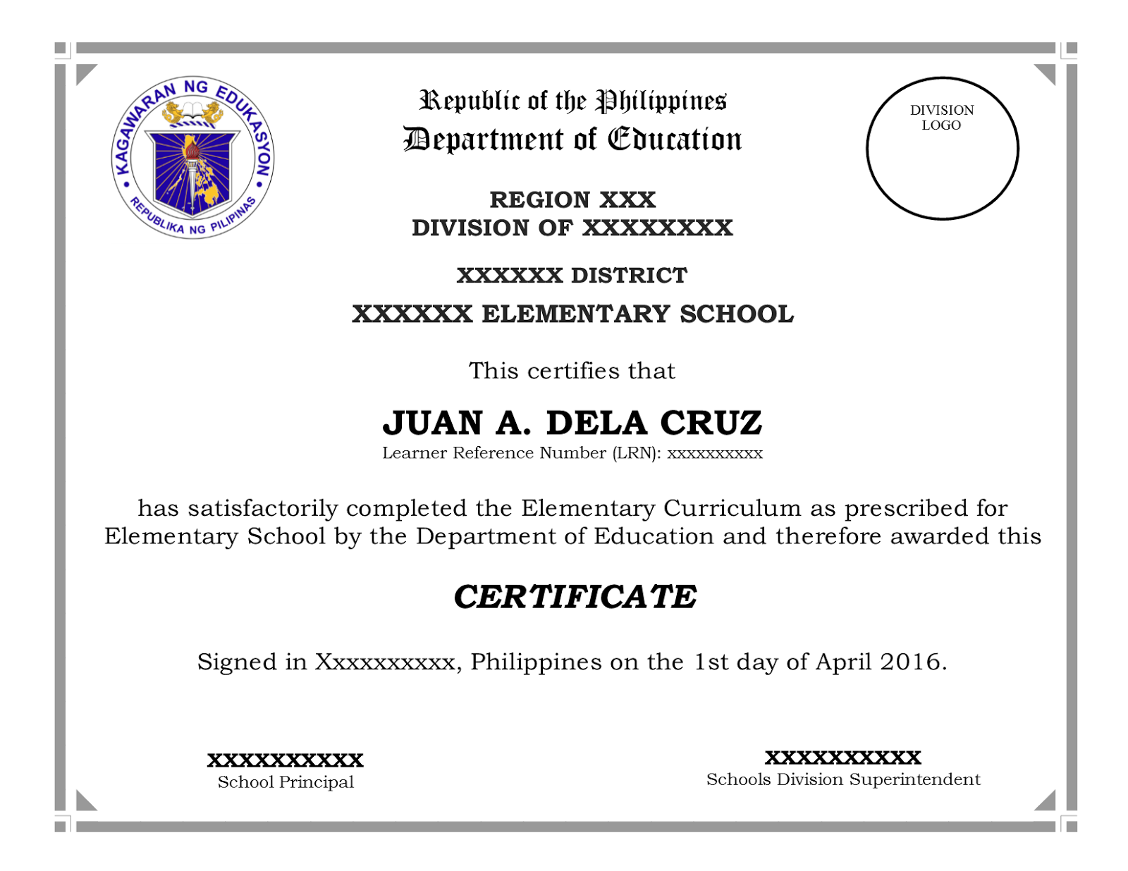 Diploma ribbons awards and certificates deped official lay out editable sample templates for grade 6 and grade 10 certificate yadclub Choice Image