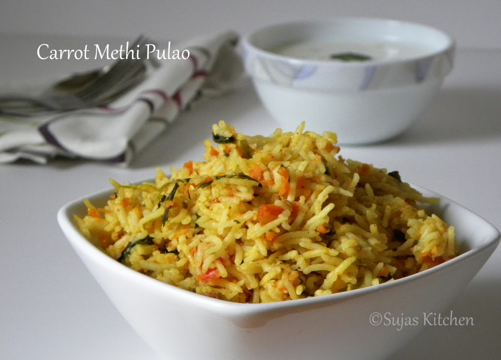 Fresh Methi Carrot Pulao