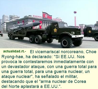 Corea del Norte ha presentado un misil para submarinos durante el desfile en Pionyang.