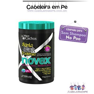 Composição da Máscara Novex Santo Black Poderoso - Embelleze, liberada para No Poo, Low Poo, Sem Shampoo, Shampoo Leve com óleo de semente de Baobá.