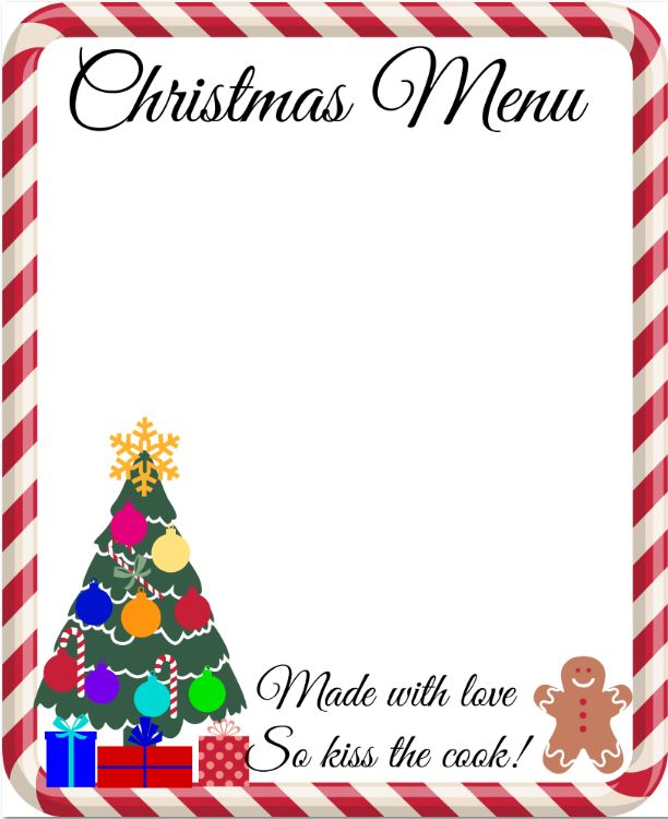 Printable A4 Christmas Menu