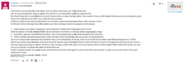 Mensagem enviada pelo Marcelo (Linux dv)