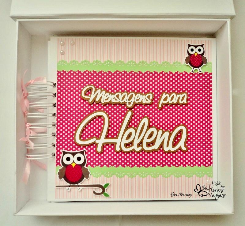 kit caixa e livro álbum de mensagens decorado personalizado coruja corujinha rosa violeta verde menina aniversário infantil