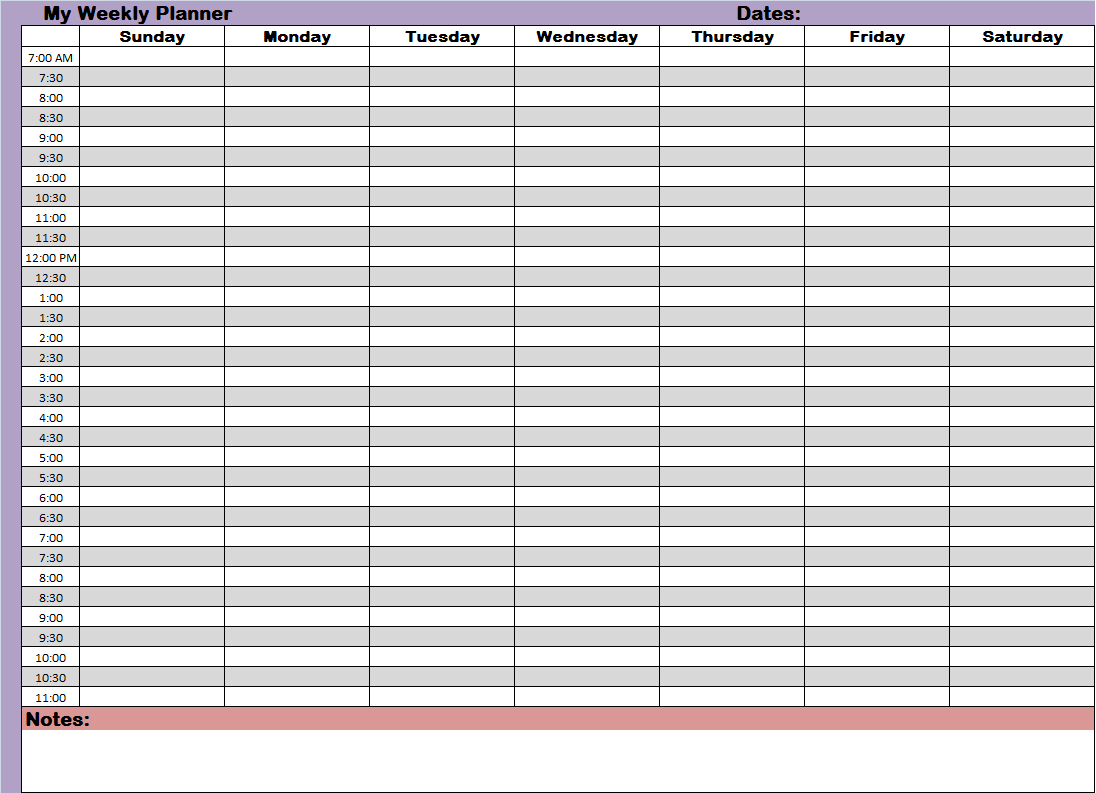 5 5 X 8 5 Weekly Planner Template