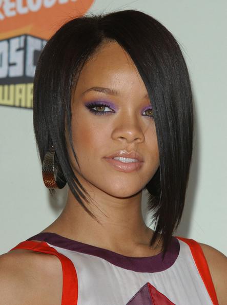Enjoyable Celebrity Hairstyle Ideas Rihanna Edgy Sleek Concave Bob Haircut Short Hairstyles Gunalazisus