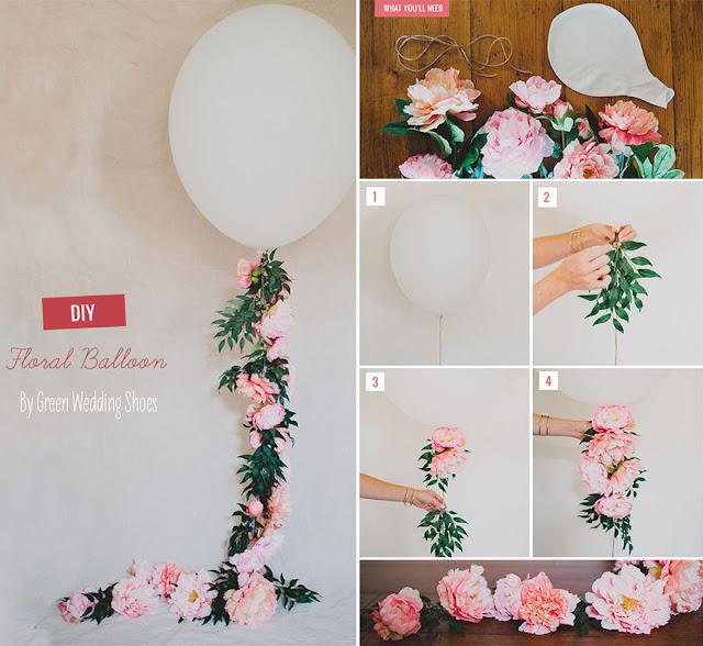 Globos decorados con guirnaldas de flores paso a paso