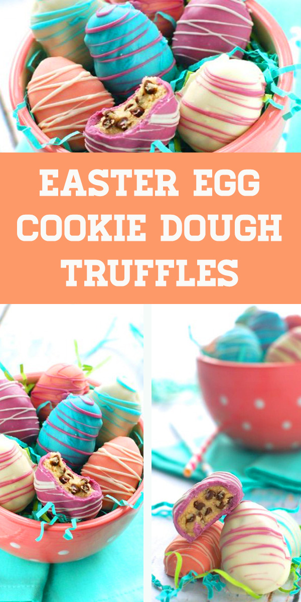 Easter Egg Cookie Dough Truffles - Easter Egg Cookies. An Easter time favorite candy plus a chocolate chip cookie all in one! These Easter Egg Cookies deserve to be devoured at all your spring celebrations! #easter #desserts #dessertfoodrecipes #dessertrecipes #holiday #party #food #recipes #easteregg #eastercookies #easterdessert #cookiedough #truffles