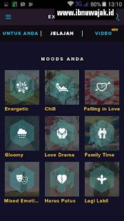 pilihan Moods Anda aplikasi langit musik